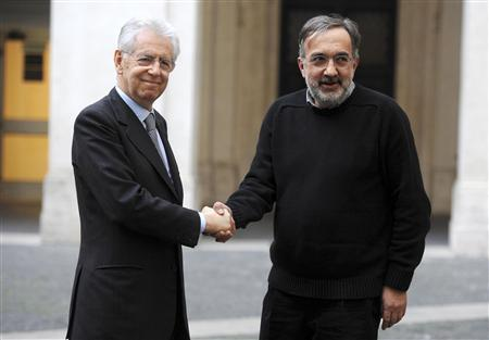 Italian Prime Minister Mario Monti (L) shakes hands with Fiat-Chrysler CEO Sergio Marchionne during a meeting at Chigi palace in Rome March 16, 2012. REUTERS/Stringer