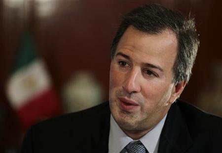 Mexican Finance Minister Jose Antonio Meade speaks during an interview with Reuters in Mexico City February 14, 2012. REUTERS/Henry Romero