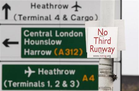 A sign reading No Third Runway is attached to a lampost in front of a road sign for Heathrow Airport at Sipson near London, December 8, 2009. REUTERS/Luke MacGregor