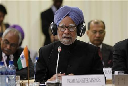 Prime Minister Manmohan Singh speaks during the fifth India-Brazil-South Africa summit (IBSA) in Pretoria October 18, 2011. REUTERS/Siphiwe Sibeko/Files