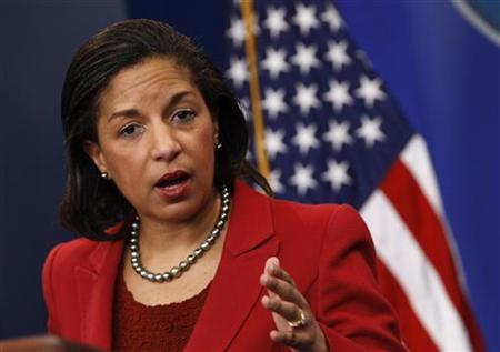 U.S. Ambassador to the United Nations Susan Rice speaks at the White House in Washington, in this February 28, 2011 file photo. REUTERS/Jim Young/Files