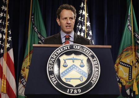 Treasury Secretary Timothy Geithner speaks during a news conference on the state of financial reform at the Treasury Department in Washington February 2, 2012. REUTERS/Yuri Gripas