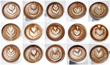 A combination photo shows cups of latte with patterns made of milk and espresso that were entered in the Coffee Fest New York Latte Art Championships in New York, March 11, 2012. REUTERS/Carlo Allegri