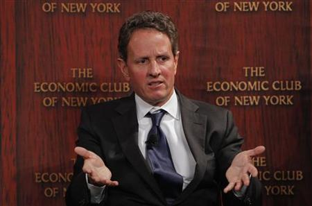 U.S. Treasury Secretary Timothy Geithner speaks at the Economic Club of New York March 15, 2012. REUTERS/Adam Hunger