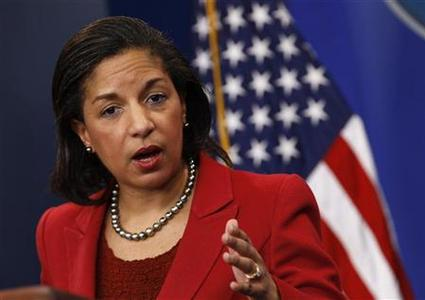 U.S. Ambassador to the United Nations Susan Rice speaks at the White House in Washington, in this February 28, 2011 file photo. Rice is on a ''short list'' of possible U.S. candidates to head the World Bank, according to media reports on March 13, 2012. REUTERS/Jim Young/Files