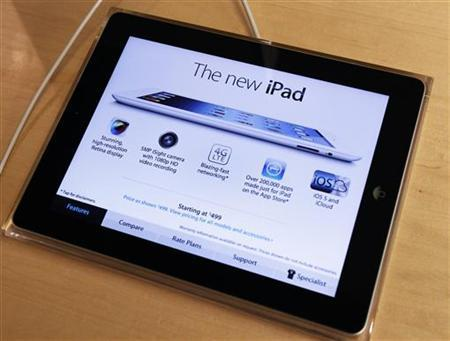 Apple's newest iPad is seen at the 5th Avenue Apple Store in New York March 16, 2012. REUTERS/Shannon Stapleton