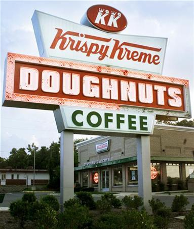 Krispy Kreme Doughnuts Inc forecast full-year profit largely above analysts' expectations, saying it will continue to cut back on its consumption of some key ingredients to combat rising input costs. Photo taken on November 22, 2004. REUTERS/Richard Clement-Files