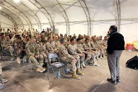 U.S. Defense Secretary Leon Panetta holds a town hall meeting with coalition forces shortly after arriving in Afghanistan, at Camp Leatherneck March 14, 2012. REUTERS/Scott Olson/Pool