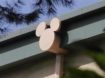 A rain spout stylized with the outline of Disney character Mickey Mouse is seen on a building at The Walt Disney Co. studios in Burbank, California August 9, 2011. REUTERS/Fred Prouser