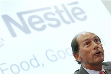 Paul Bulcke, CEO of Nestle SA speaks during a news conference before the inauguration of Nestle's new production unit for the production of latest-generation probiotic infant formulas in Konolfingen near Bern September 1, 2011. REUTERS/Pascal Lauener