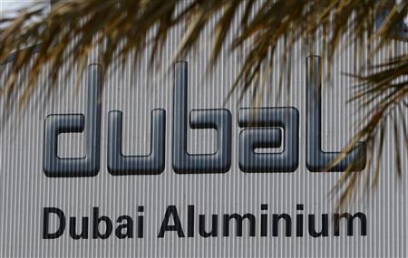 The Dubai Aluminium logo is seen in the Jebel Ali area of Dubai December 2, 2009. REUTERS/Steve Crisp