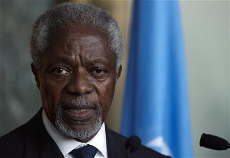 Joint special envoy on Syria for the United Nations and the Arab League Kofi Annan, gives a statement after his address to the Security Council in New York by videolink at the United Nations headquarters in Geneva March 16, 2012. REUTERS/Denis Balibouse