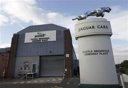 An emblem stands outside the Jaguar assembly plant in Castle Bromwich, Birmingham, central England September 24, 2009. REUTERS/ Eddie Keogh