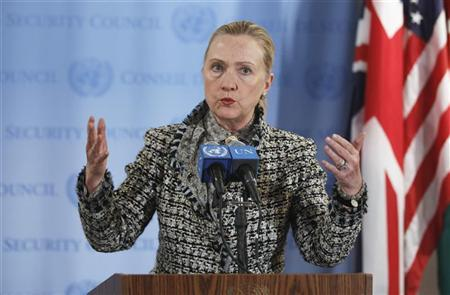 U.S. Secretary of State Hillary Clinton speaks following a Security Council meeting regarding the current situation in the Middle East at UN Headquarters in New York March 12, 2012. REUTERS/Lucas Jackson