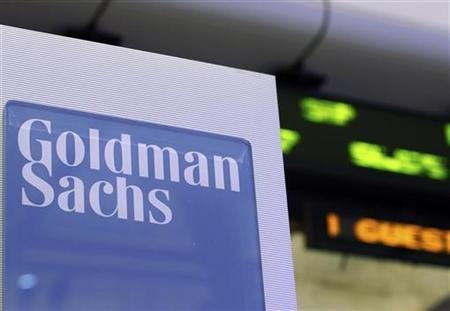 A Goldman Sachs sign is seen on at the company's post on the floor of the New York Stock Exchange, January 18, 2012. REUTERS/Brendan McDermid/Files