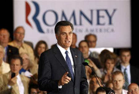 U.S. Republican presidential candidate and former Massachusetts Governor Mitt Romney speaks at his Illinois primary night rally in Schaumburg, Illinois, March 20, 2012. REUTERS/Jim Young