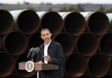 U.S. President Barack Obama delivers remarks on energy independence at Stillwater Pipe Yard in Cushing, Oklahoma, March 22, 2012. Obama is traveling to Nevada, New Mexico, Oklahoma and Ohio for events on energy independence. REUTERS/Jason Reed