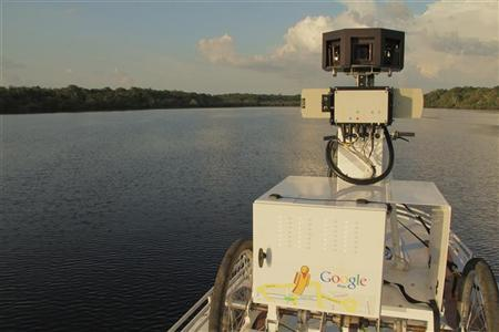 Cameras that capture 360-degree views to collect panoramic images are seen along Negro River in the heart of the Brazilian Amazon Basin August 17, 2011. REUTERS/Google/Handout