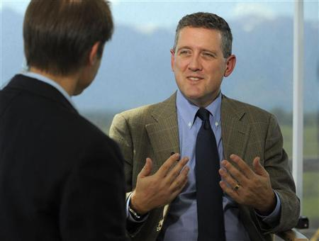 Reuters reporter Mark Felsenthal interviews President and CEO of the Federal Reserve Bank of St. Louis James B. Bullard during the Federal Reserve Bank of Kansas City Economic Policy Symposium in Jackson Hole, Wyoming, August 25, 2011. REUTERS/Price Chambers