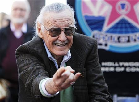 Comic book creator Stan Lee poses after his star on the Hollywood Walk of Fame was unveiled in Hollywood, California, January 4, 2011. It was the 2,428th star on the Walk of Fame. REUTERS/Danny Moloshok