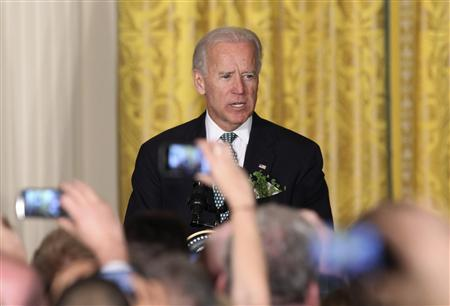 U.S. Vice President Joe Biden makes remarks during a St. Patrick's Day reception at the White House in Washington March 20, 2012. REUTERS/Chris Kleponis