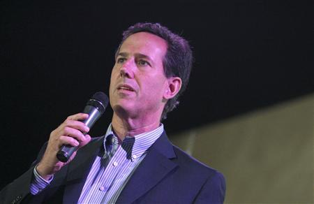 Republican presidential candidate and former U.S. Senator Rick Santorum addresses supporters at a Get Out The Vote rally in Mandeville, Louisiana March 21, 2012. REUTERS/Sean Gardner