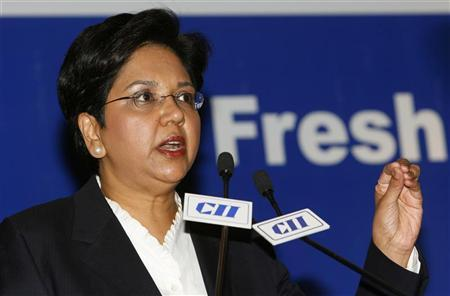 Indra Nooyi, chairman and chief executive officer of PepsiCo, speaks during a business meeting organised by the Confederation of Indian Industry (CII) in New Delhi September 24, 2008. REUTERS/B Mathur