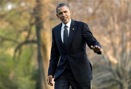 U.S. President Barack Obama returns to the White House in Washington March 22, 2012, after a two-day trip promoting his energy policy. REUTERS/Joshua Roberts