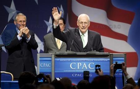 Former Vice President Dick Cheney waves during the Conservative Political Action Conference (CPAC) in Washington on February 10, 2011. REUTERS/Joshua Roberts/Files