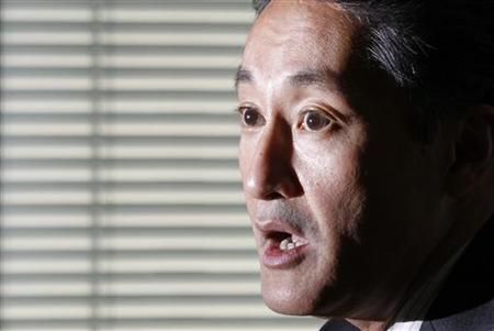 Sony Corp's incoming CEO Kazuo Hirai speaks during a roundtable discussion with journalists at the company's headquarters in Tokyo February 9, 2012. REUTERS/Yuriko Nakao