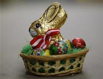 An Easter basket with a chocolate bunny is pictured at the Hauswirth confectioner factory in Kittsee, some 60 km (37 miles) east of Vienna. Hauswirth has to stop making chocolate Easter bunnies that look like those made by Switzerland's Lindt & Spruengli, a court ruled March 26, 2012, after an eight-year legal battle. The Austrian family-owned chocolate company will now seek ways to change the appearance of the chocolate rabbits it has been making for half a century, co-owner Peter Hauswirth said. Both chocolatiers have made the distinctive sitting bunny shapes wrapped in gold foil with a red ribbon - in Hauswirth's case, red and white - bow tie. Lindt has said Hauswirth's bunnies are a knock-off of their own version and violate its EU trademark. Hauswirth argued chocolate bunnies traditionally come wrapped in gold foil and that it is normal for the shapes to look similar as they are based on animals. Picture taken March 24, 2011. REUTERS/Lisi Niesner