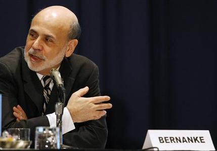 Federal Reserve Board Chairman Ben Bernanke addresses the National Association for Business Economics Policy Conference in Alexandria, Virginia March 26, 2012. The U.S. economy needs to grow more quickly if it is to produce enough jobs to bring down the unemployment rate, Bernanke said on Monday, tamping down expectations of a quick reversal of monetary easing. REUTERS/Gary Cameron