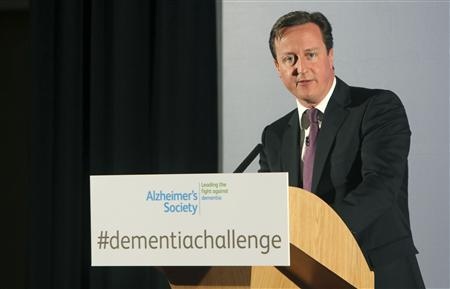 Britain's Prime Minister David Cameron speaks at the Alzheimer's Society in London March 26, 2012. REUTERS/Mark Richards/pool