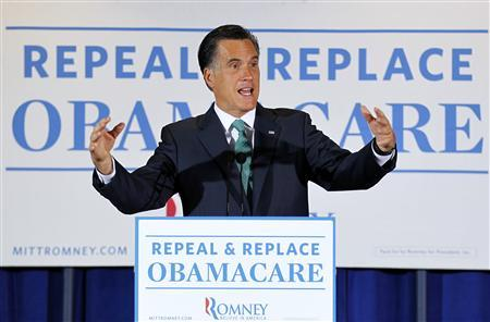 U.S. Republican presidential candidate Mitt Romney addresses employees at the medical company NuVasive during a campaign stop in San Diego, California March 26, 2012. REUTERS/Mike Blake