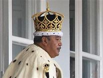 Tonga's King Tupou V leaves the Free Wesleyan Centenary Church after his coronation in the nation's capital city Nuku'alofa August 1, 2008. REUTERS/Linny Folau (TONGA)
