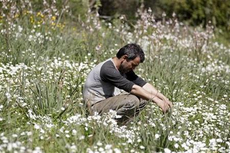 Dimitris Stamatakos, 36, sits in a field on land he is renting near his home in the village of Krokeae in the Peloponesse area of Greece, March 18, 2012. Before the crisis Stamatakos was able to make a living by selling olives that he farmed on the land he owns, now he is forced to labour for neighbouring farms and do odd jobs to earn his living. The crisis is also putting a strain on his marriage to his wife Voula, 32. He says, ''I row with my wife a lot about money. She thinks I should be doing more. What more can I do? I'm just getting by.'' Picture taken March 18, 2012. REUTERS/Cathal McNaughton