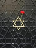 """Красная гвоздика на звезде Давида в воротах синагоги Neve Shalom в Стамбуле 15 ноября 2005. Реклама шампуня изображением Адольфа Гитлера вызывала яростную критику со стороны турецких евреев, чей духовный лидер назвал ее """"ужасным нарушением прав человека"""". REUTERS/Fatih Saribas"""