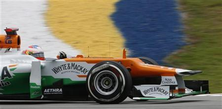 Force India Formula One driver Paul di Resta of Britain drives during the third practice session of the Malaysian F1 Grand Prix at Sepang International Circuit outside Kuala Lumpur March 24, 2012. REUTERS/Tim Chong