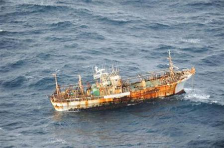 Canada's Department of National Defence photograph shows a Japanese fishing vessel, which is believed have been lost as a result of last year's tsunami, that was sighted drifting 150 nautical miles of the southern coast of Haida Gwaii off the coast of British Columbia, March 20, 2012. REUTERS/Department of National Defence/Handout