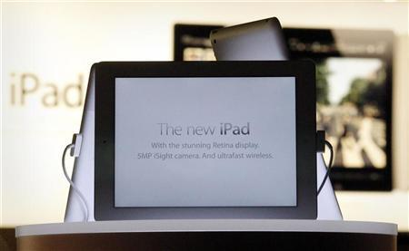 New iPad tablets are seen in a window display in an Apple store in Sydney March 16, 2012. REUTERS/Tim Wimborne