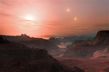 Acest artist impresia arata un apus de soare vazut de la super-Pământ Gliese 667 Cc.  REUTERS / ESO / L.  Calçada / Fişa