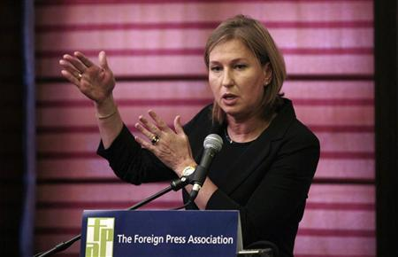 Israel's opposition leader and former Foreign Minister Tzipi Livni speaks at the annual general meeting of the Foreign Press Association in Jerusalem April 28, 2011. REUTERS/Baz Ratner