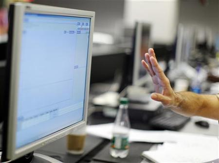 A man gestures before a computer screen in Massachusetts, July 23, 2009. REUTERS/Brian Snyder