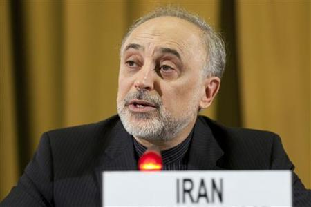 Iran's Foreign Minister Ali Akbar Salehi addresses the main U.N. Disarmament conference at the end of his two-day visit at the United Nations in Geneva, February 28, 2012. REUTERS/Valentin Flauraud