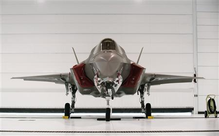 A U.S. Marine F-35B Joint Strike Fighter Jet sits in a hangar after the roll-out Ceremony at Eglin Air Force Base in Florida in this February 24, 2012 file photograph. REUTERS/Michael Spooneybarger/Files
