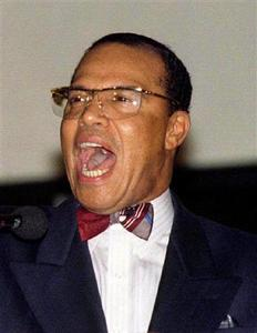Nation of Islam leader Louis Farrakhan speaks during a news conference in Baghdad, December 11, 1997. Picture taken December 11, 1997. REUTERS-Faleh Kheiber-Files