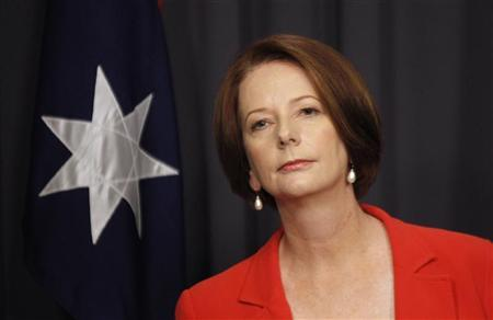 Australia's Prime Minister Julia Gillard listens to a question during a news conference at Parliament House in Canberra February 27, 2012. REUTERS/Daniel Munoz