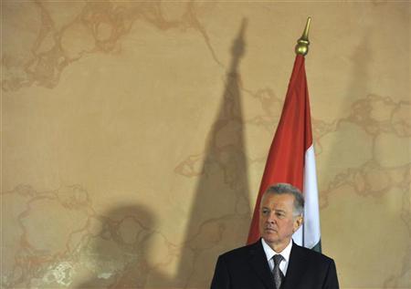 Hungarian President Pal Schmitt attends a signing cooperation between the minorities in Szentgotthard March 8, 2012. REUTERS/Srdjan Zivulovic
