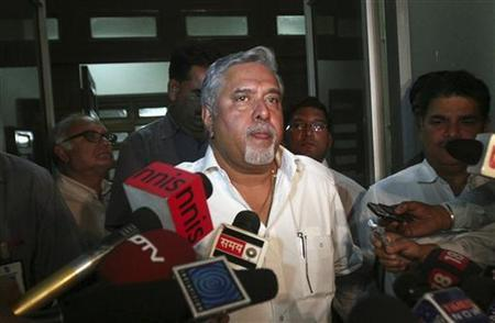 Kingfisher Airlines Chairman Vijay Mallya speaks with the media in New Delhi March 20, 2012. REUTERS/Parivartan Sharma