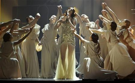 Florence Welch performs with her band Florence & The Machine during the BRIT Music Awards at the O2 Arena in London February 21, 2012. REUTERS/Dylan Martinez